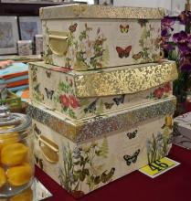 Lot 46: Set of 3 Decorative Butterfly Boxes