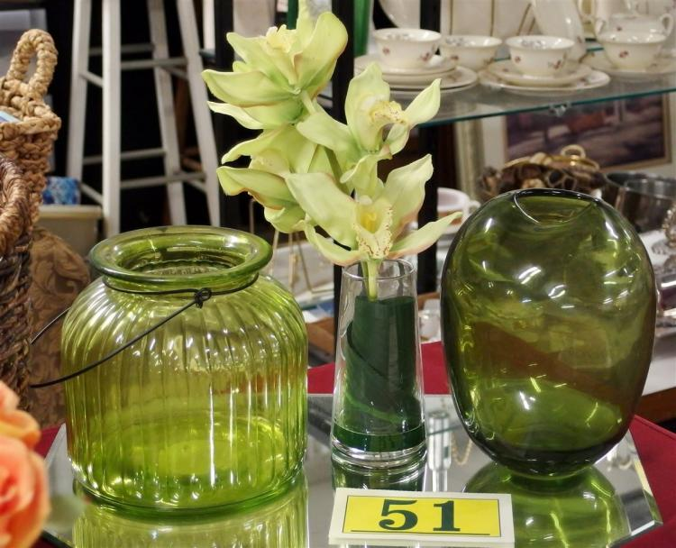 Lot 51: Lot of 3 – Green Vase 8-1/2H, Ribbed Lantern Jar 7H, Silk Plant 14H