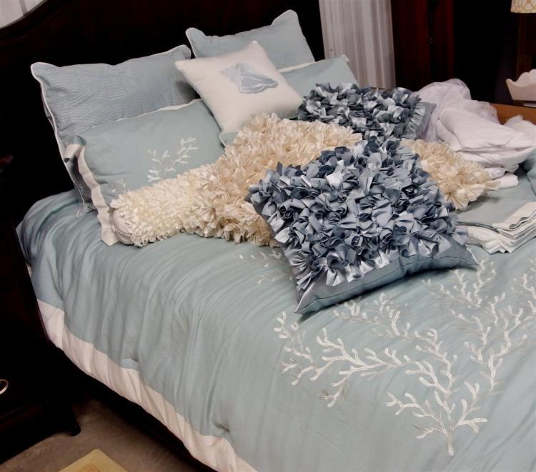 17pc. Queen Bedding Ensemble – Comforter, Shams, Bedskirt, Sheet Set, 9 Pillows