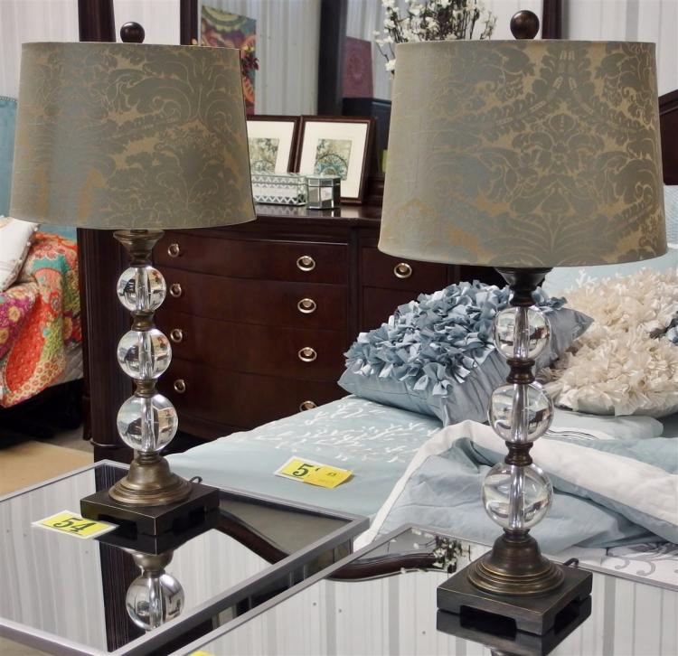 Lot 54: Pair of Lamps, Triple Glass Ball Column, Heavy Base, Light Blue & Gold Acanthus Shade, 32H