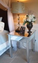 Lot 55: Pair of Mirrored Night Stands / End Table, One Drawer, 27H x 24 x 24