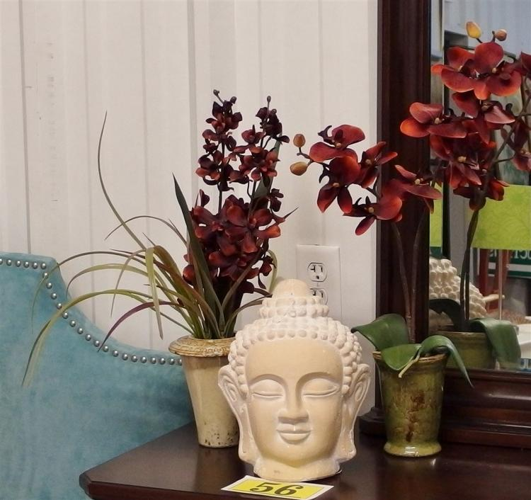 Lot 56: Lot of 3 – Buddha Bust 10-1/2H, Pair of Stoneware Planters with Silk Plants, 20H, 23H