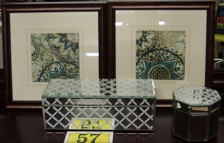 "Lot 57: Lot of 4 – Mirrored Glove Box Velvet Lined 12"", Mirrored Octagonal Box 5"", Pair of Framed Prints 12-1/2"""