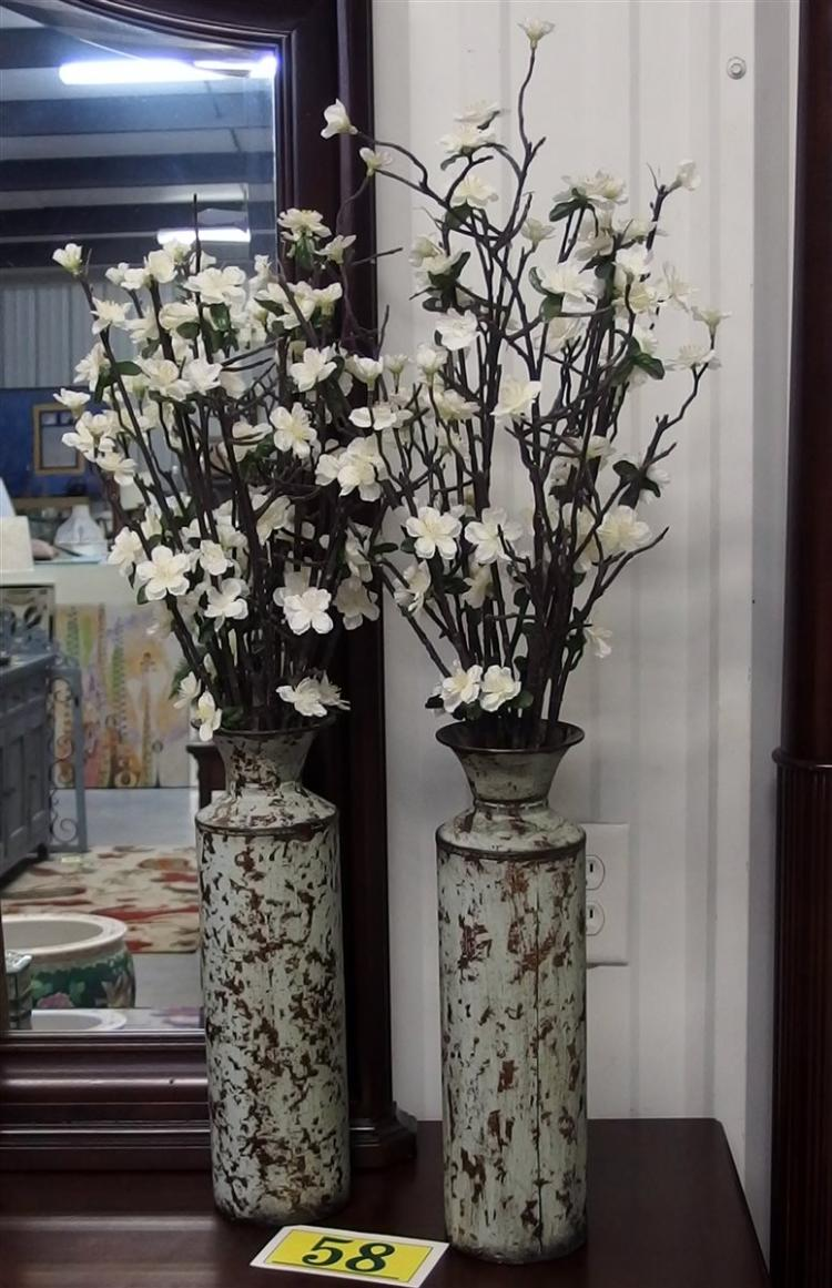 Pair of Distressed Metal Cylinder Vases with Blossoms, 34H