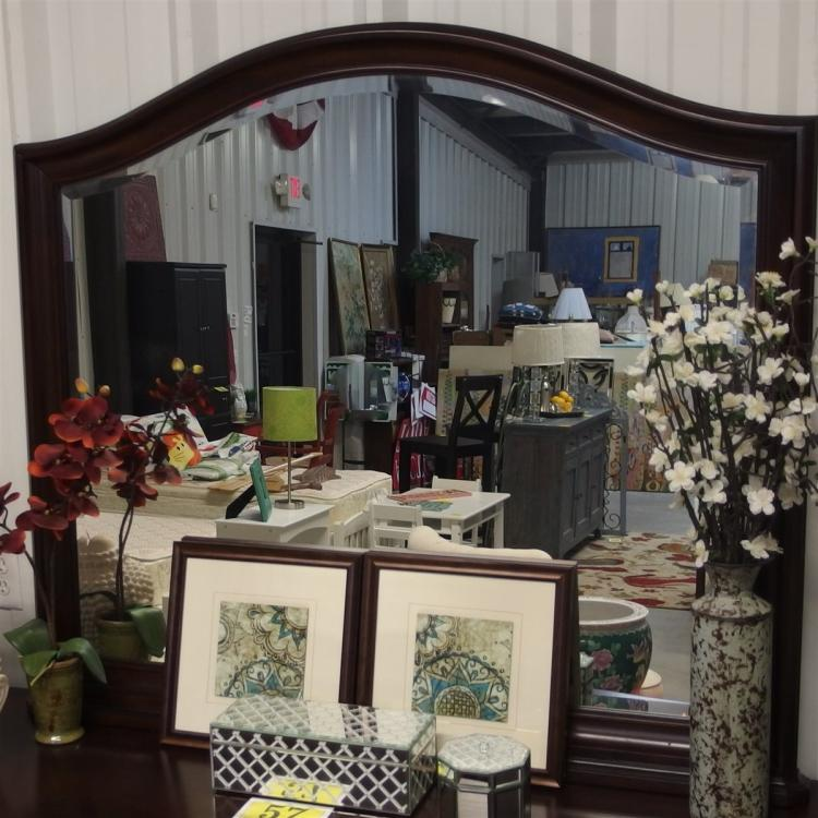 Lot 59: Haverty's 12-Drawer Dresser with Beveled Mirror incl. 2 Jewelry Tray, 3 Drawers lined with Cedar panels. 39H x 70W x 18D. Attached mirror is 70W x 43H. New, never used.