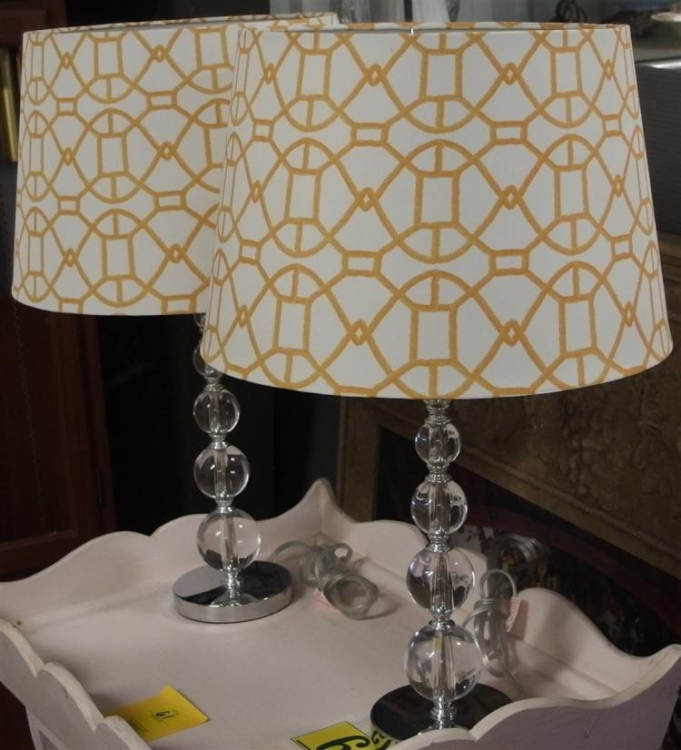 Pair of Lamps, Five Graduated Ball Column Yellow & White Geometric Shade, 25H