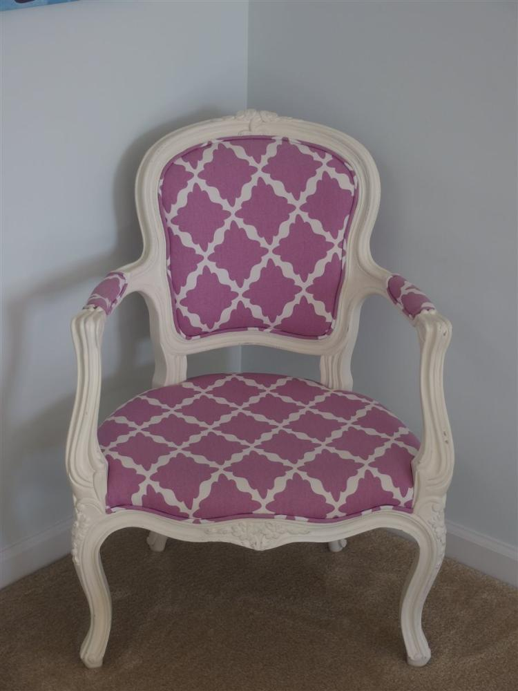 French Provincial Arm Chair, Pink & White Upholstery