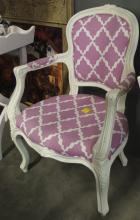 Lot 62: French Provincial Arm Chair, Pink & White Upholstery