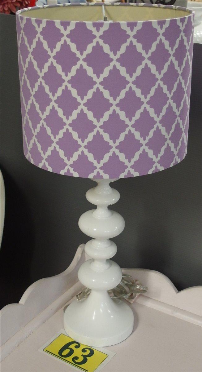 Lot 63: White Lamp, Purple & White Shade, 24H