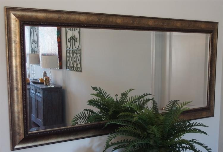 Lot 64: Beveled Mirror with Gilded Frame, 32 x 65