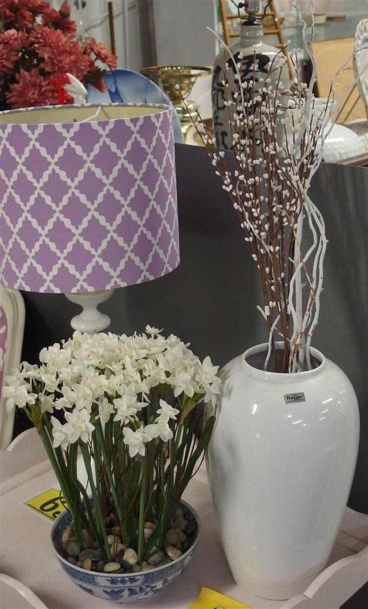 Haegar White Vase 14H, Blue & White Chinese Bowl 8D, with Flowers 15H