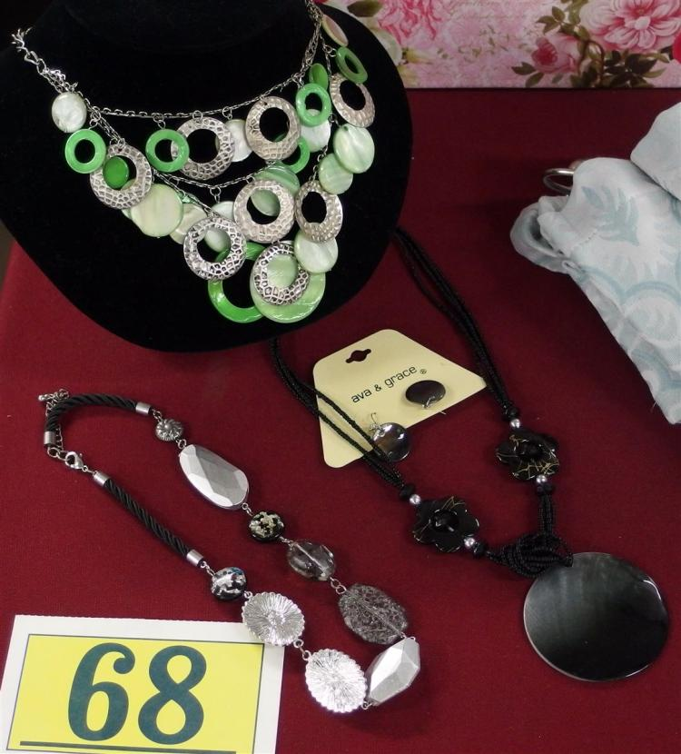 Lot 68: Lot of 3 – 2 Fashion Necklaces, Ava & Grace Necklace & Earrings