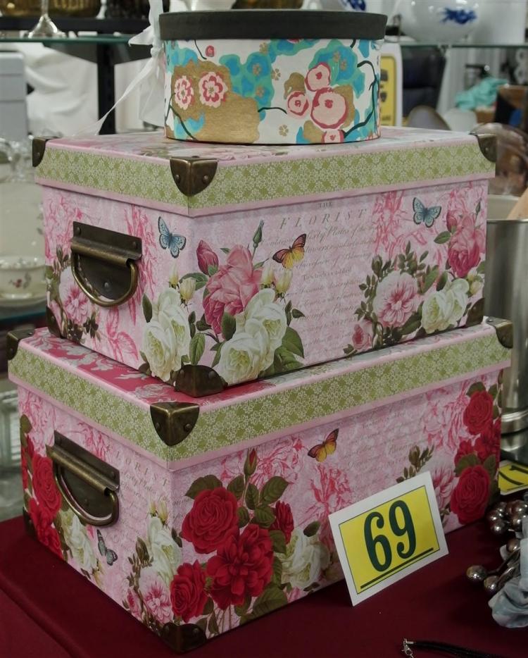 """Set of 3 Decorative Boxes – 10-1/2 x15, 9-1/2 x13, 7-1/2""""D"""