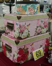 """Lot 69: Set of 3 Decorative Boxes – 10-1/2 x15, 9-1/2 x13, 7-1/2""""D"""