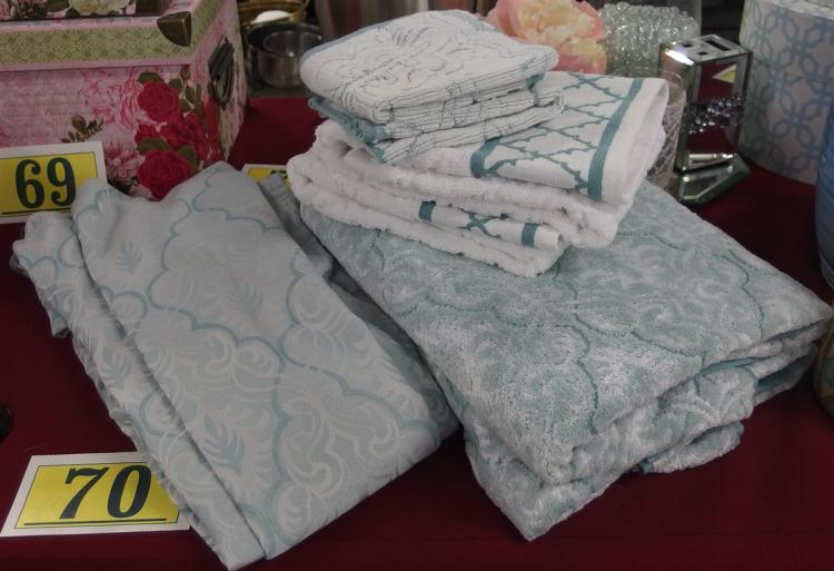 7pc. Bath Towels & Teal Shower Curtain & Hooks
