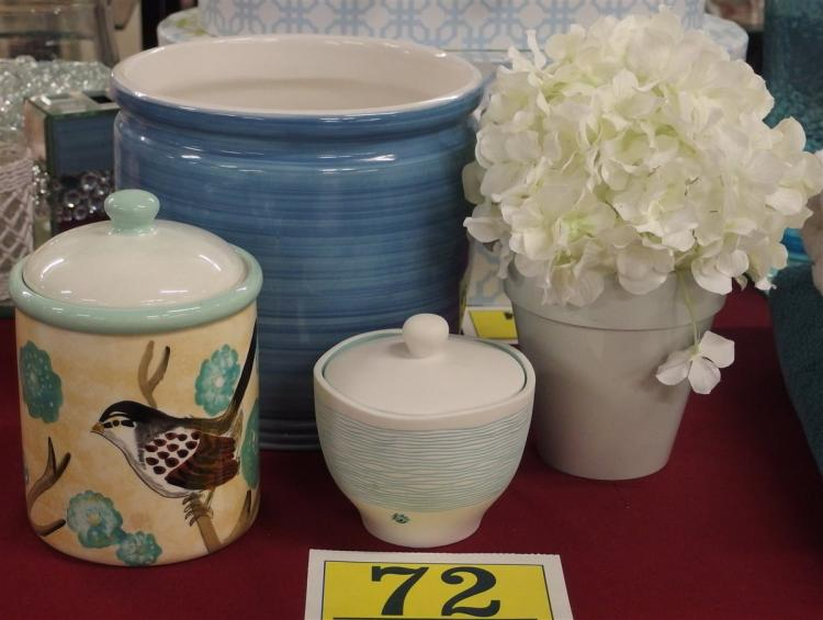 "Lot of 4 – Teal Planter 8"", Bird Canister 7-1/2, Teal Covered Jar with Ladybug 4-1/2"", White Hydrangea Vase 10H"