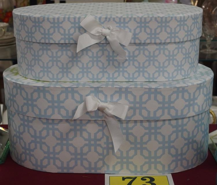 Lot 73: Pair of Blue & White Oval Decorative Boxes, 10x16, 8x15