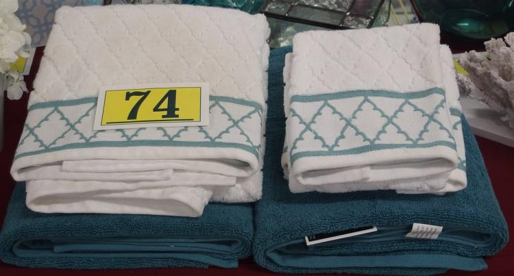 Lot 74: Set of 5 – 3 Teal Bath Towels, 2 Hand Towels
