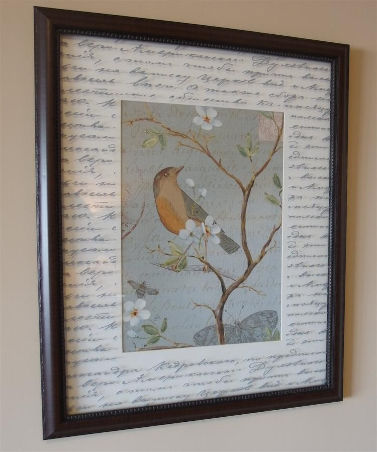 Lot 80: Pair of Framed Bird Prints with Jewel Accents, 18x22