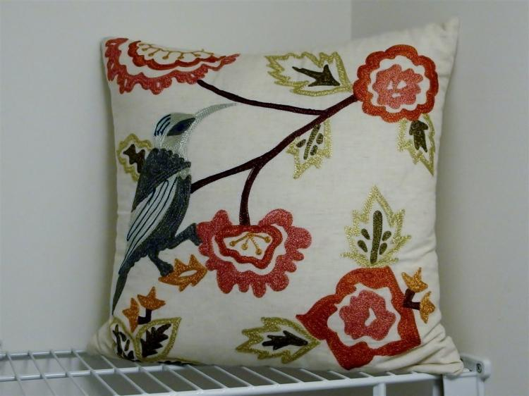 """Lot 81: Lot of 3 – Crewel Embroidered Pillow 17"""", 2 Bird Prints on Canvas 12x12"""