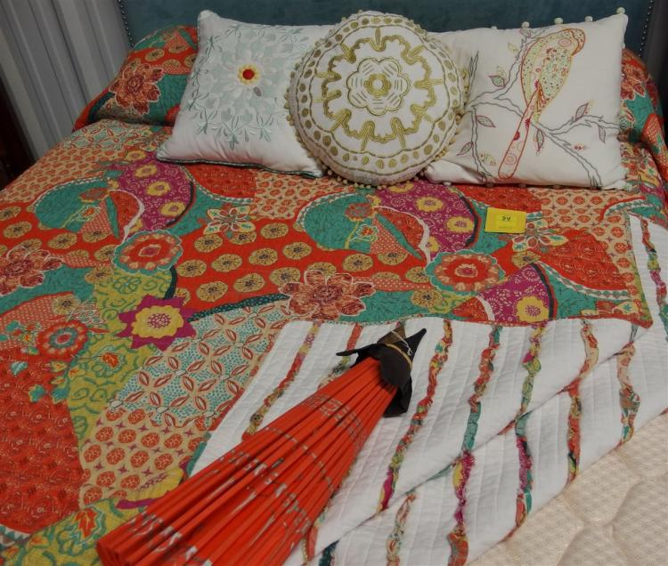 Multicolored Quilted Bedspread,  3 Embroidered Pillows, 2 Standard Pillows, Bamboo Umbrella 27""