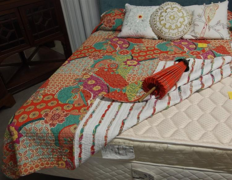 """Lot 84: Multicolored Quilted Bedspread, 3 Embroidered Pillows, 2 Standard Pillows, Bamboo Umbrella 27"""""""