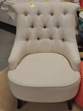 Lot 85: Beige tufted Chair with Contrasting Buttons, 35H x 27W