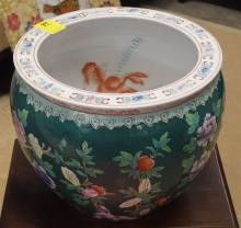 Lot 87: Chinese Porcelain Jardiniere with Goldfish Painted Interior, 12H x 16D