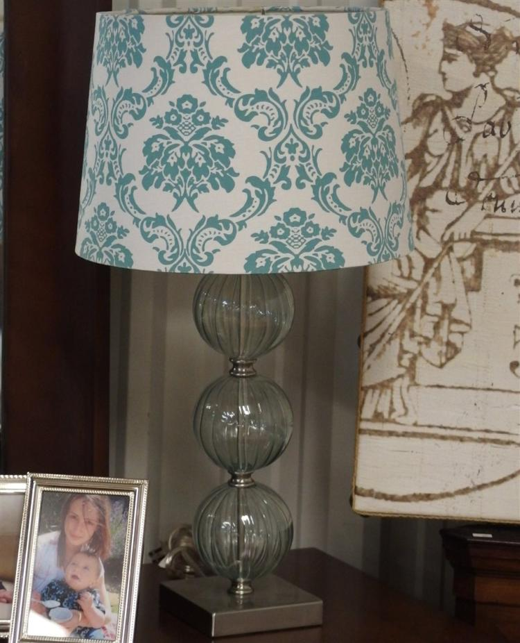 Lot 88: Pair of Lamps, Triple Acrylic Ball Column, Teal & White Acanthus Shade, 24H