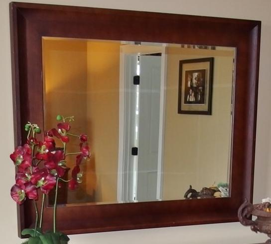 Large Beveled Mirror, Mahogany Finish, 33x41