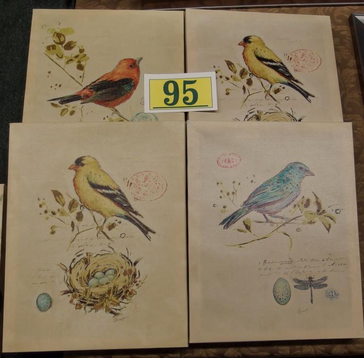 4 Chad Barrett Gilded Songbirds – Canvas Prints, 11x14