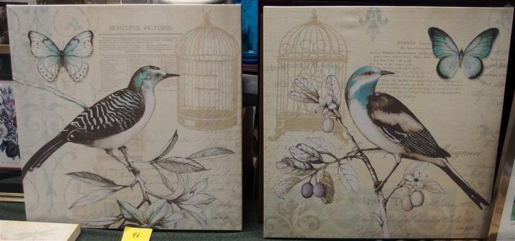Pair of Lisa Audit Songbirds – Canvas Prints, 24x24