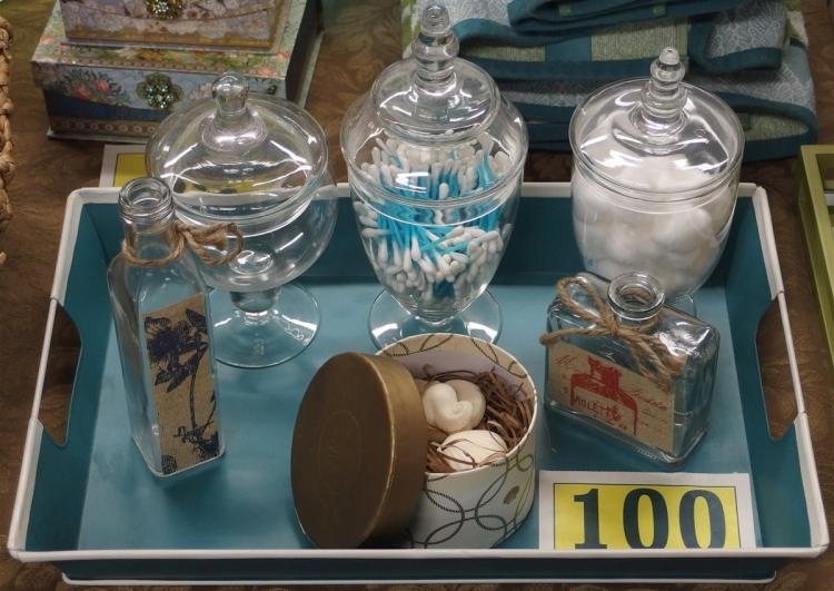 "7 pc. Bath Accessories – Teal Metal Tray 12x18, 3 Apothecary Jars 8, 9, 10"", Set of 4 Almond Seashell Soaps, 2 Bottles 4-1/2, 8-1/2"