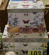 """Lot 103: Set of 3 Decorative Butterfly Boxes – 10-1/2 x 15, 9-1/2 x 13, 7-1/2""""D"""