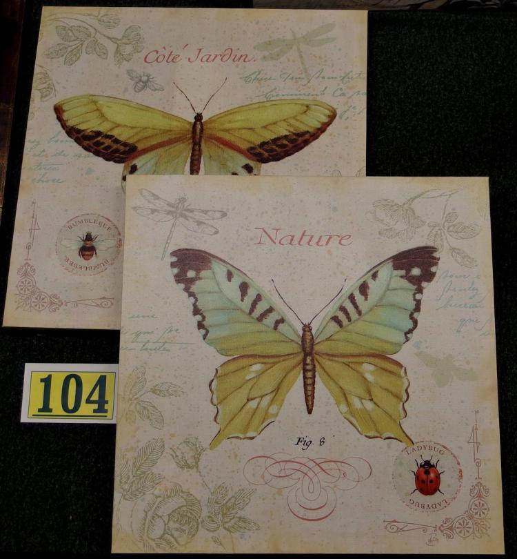 Lot 104: Pair of Daphne Brisonnet Butterfly – Cote Jardin II & III - Canvas Prints, 18x18
