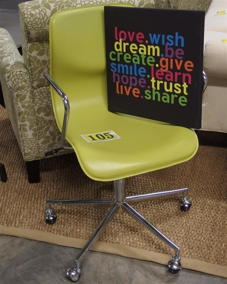 Green Ergodynamic Office Chair, Adjustable 20W,  Love-Wish-Dream Canvas Print 16 x 16