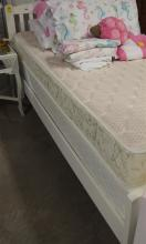Lot 109: White Twin Bed with Mattress Set, New!