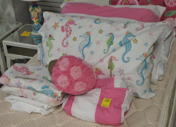 8 pc. Twin Bed Ensemble – Seahorses, Wide Pink Stripes