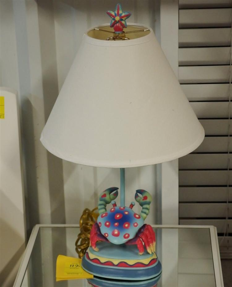 Lot 112: Crab Lamp with Shade, 22H