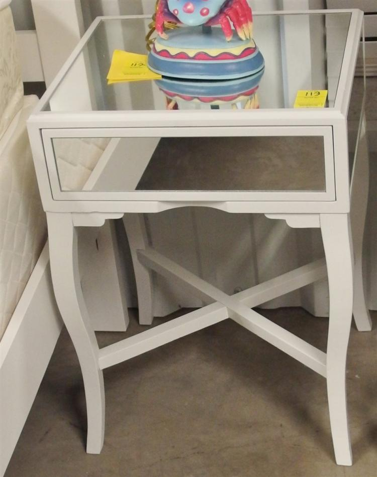 Mirrored Night Stand / End Table, One Drawer, 23H x 17 x 15