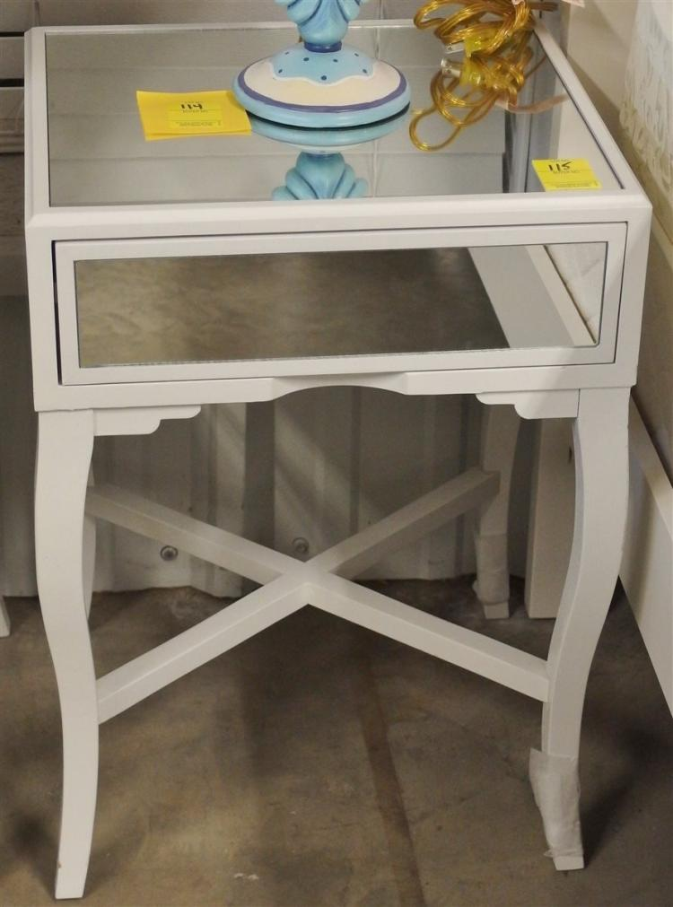 Lot 115: Mirrored Night Stand / End Table, One Drawer, 23H x 17 x 15