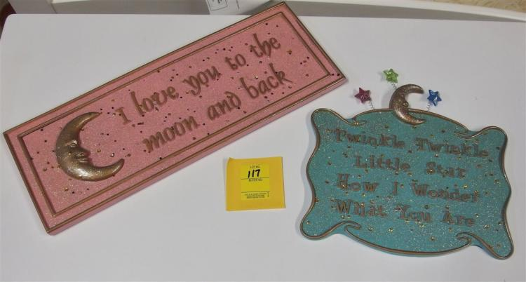 "2 Decorative Metal Wall Plaques – I love you to the Moon 18"", Twinkle Twinkle 11"""