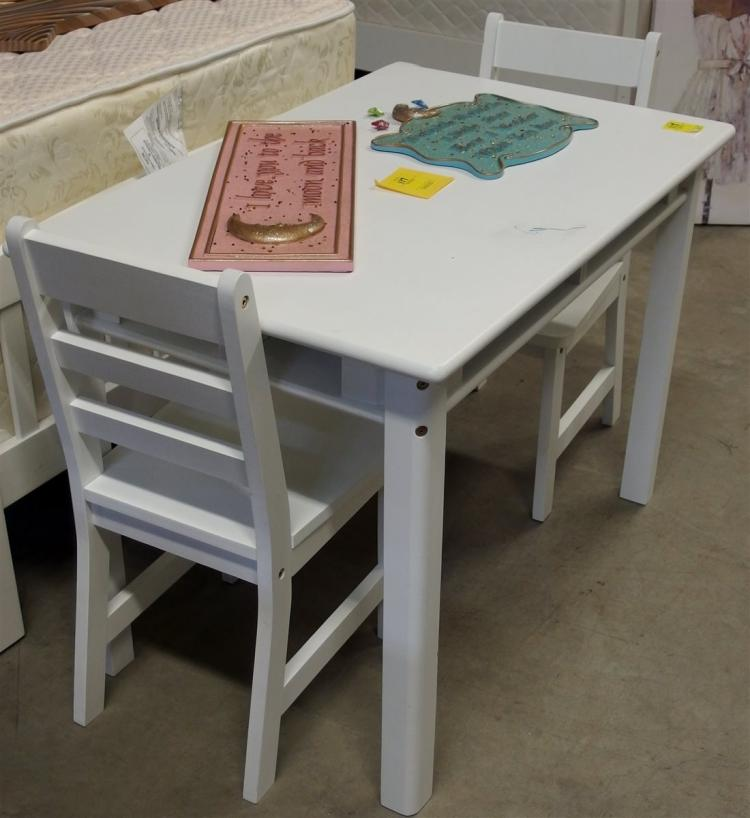 Child's White Table & 2 Chairs 24H x 33L x 22W