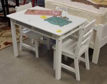 Lot 118: Child's White Table & 2 Chairs 24H x 33L x 22W