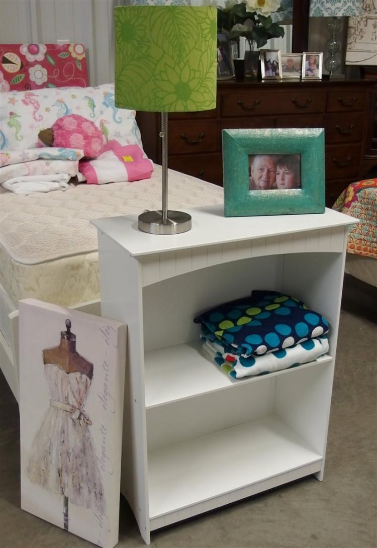 White Bookshelf, 32H x 24W x 11-1/2D - Silver Lamp with Green Shade, 19H – 8 x 20 Frame. 2 Beach Towels, Dress Print 12 x 24