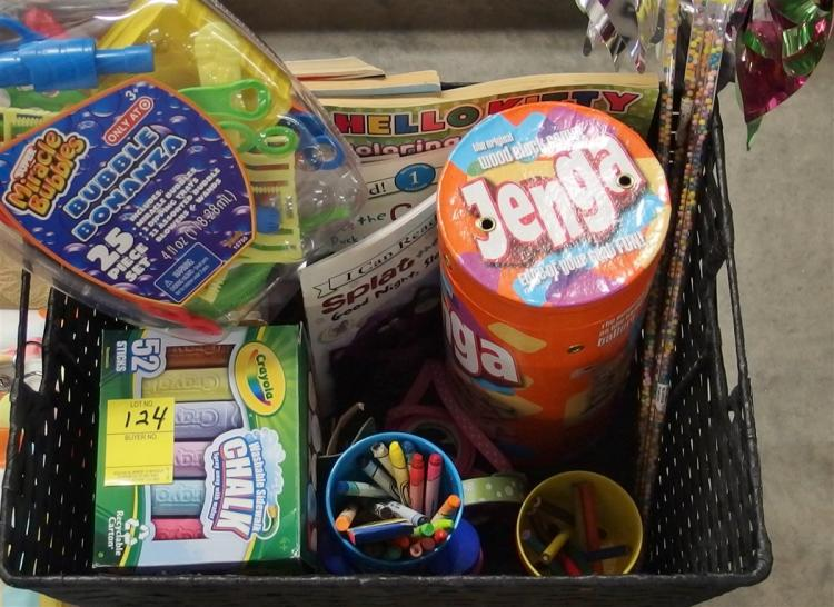 Lot 124: Woven Basket of Books & Toys, 12x16