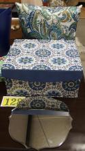 "Lot 128: Lot of 3 – Beveled Mirror 12x12, Decorative Box 14x16, Pillow 16"""