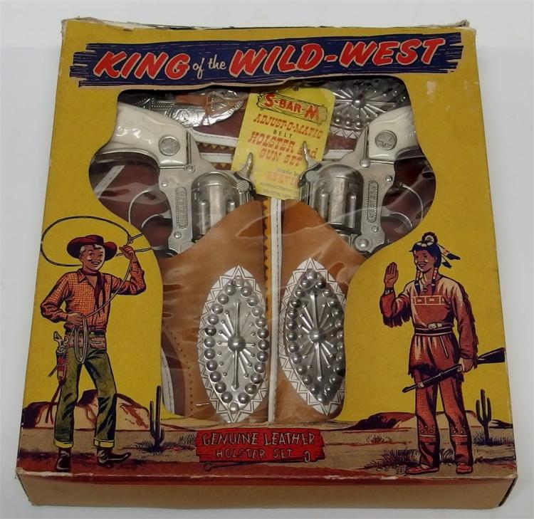 "1960 Hubley WESTERN King of the Wild West Toy Cap Guns, 9""L, Leather Holster Set"