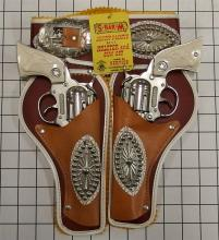 "Lot 1: 1960 Hubley WESTERN King of the Wild West Toy Cap Guns, 9""L, Leather Holster Set"