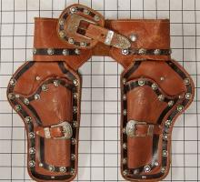 Lot 3: ROY ROGERS Leather Holster for Toy Cap Guns, Embossed Studded RR Logo, 31""